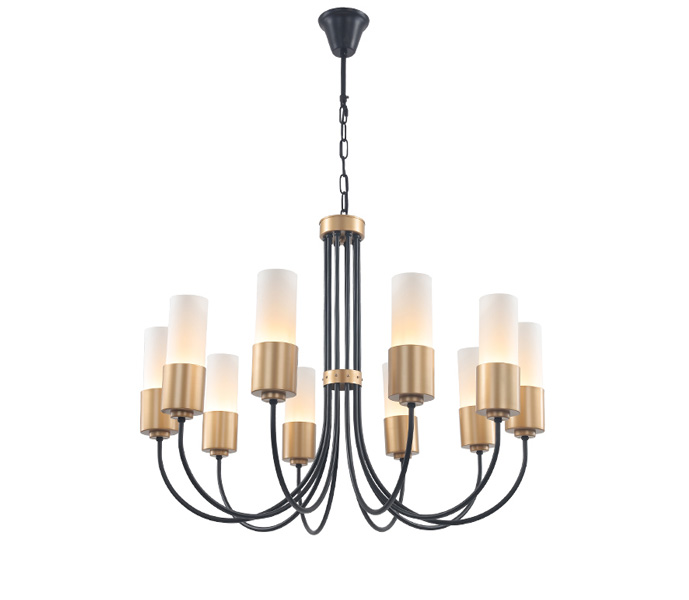Modern Black 8 Lights Chandeliers with White Glass Lampshade