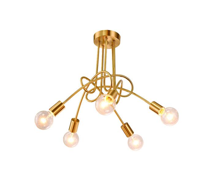 Modern Brass 5 Lights Pendant Lights with Bulb Glasses Shade