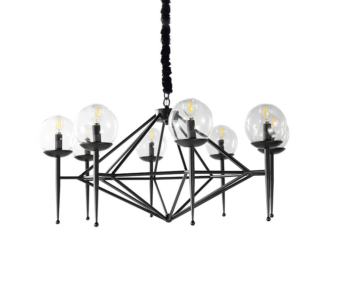 Black Torch Iron 8 Lights Chandeliers with Glasses Shade