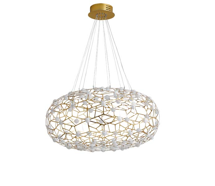 Hot Sale Modern Gold  LED Steel Pendant Light with Acrylic Shade