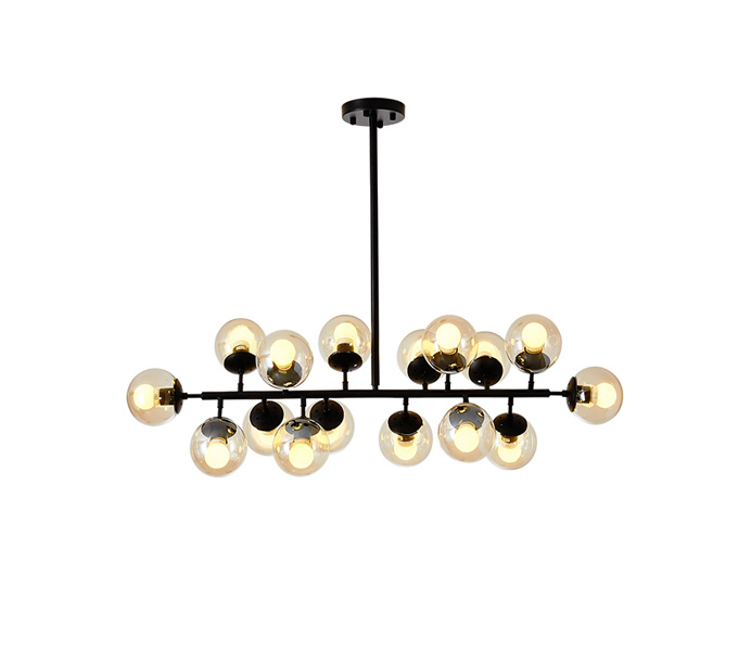 Black 16 Lights Iron Chandelier with Glass Shade