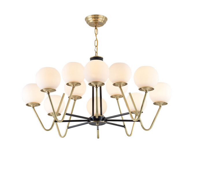 12 Lights Brass Chandelier with Glasses