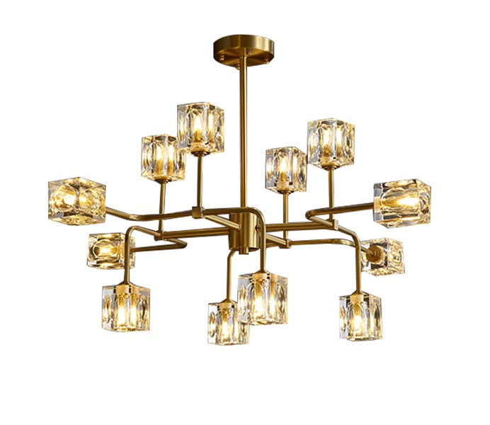 Gold 16 Lights Brass Chandelier with Crystal Shade