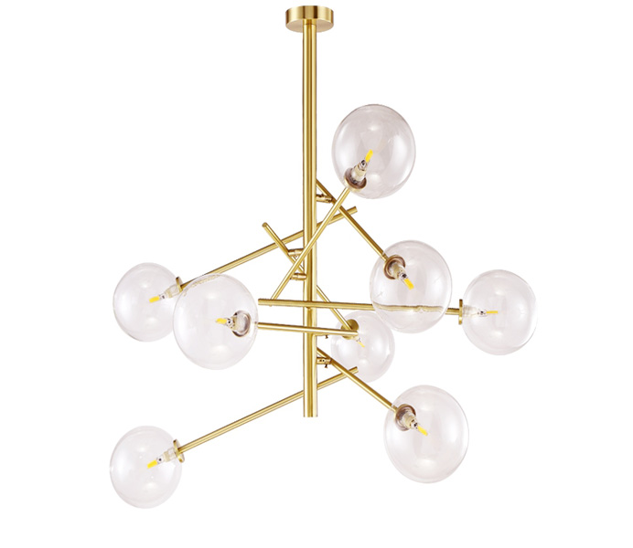 8 Lights Brass G9 Chandeliers with Glass Shade