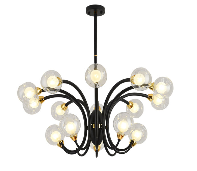 Black 15 Lights Iron Chandeliers with G9 Lights