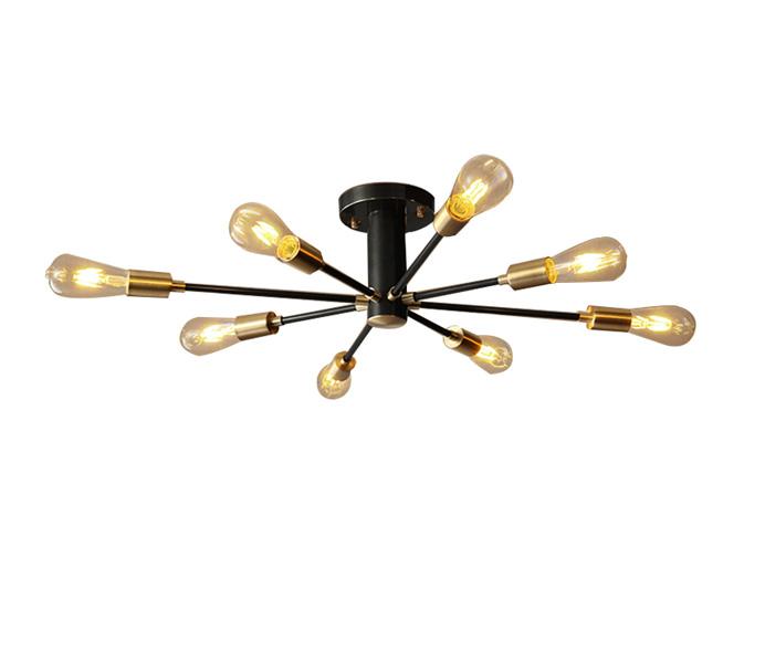 8 Lights Black Brass Pendant Lights with E27