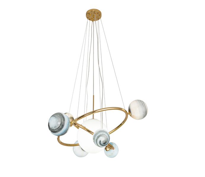 13 Glasses Balls Planets Chandeliers with Round Iron