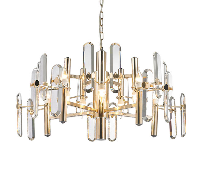 Gold 10 Lights Iron E14 Chandeliers with Crystal