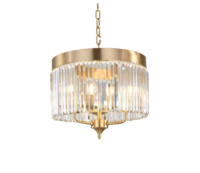 3 Lights Brass Chandeliers with Crystal Shade