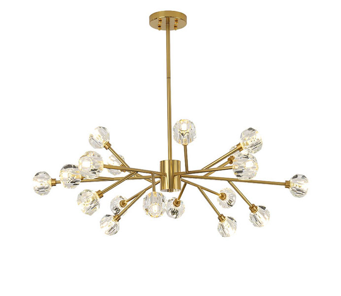 Hight quality 18 Lights Brass G9 Chandelier with Crystal Shade