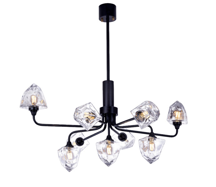 9 Lights Gold Brass Chandelier with Glass Shade