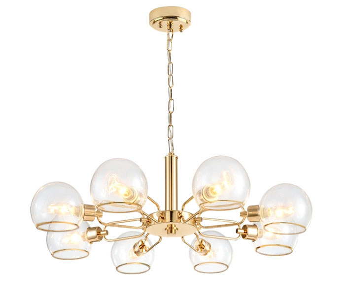 Gold 8 Lights Iron Chandelier with Glass Shade