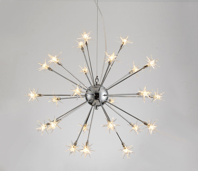 24 Lights Chrome G4 Chandeliers with Spark Glass Shade
