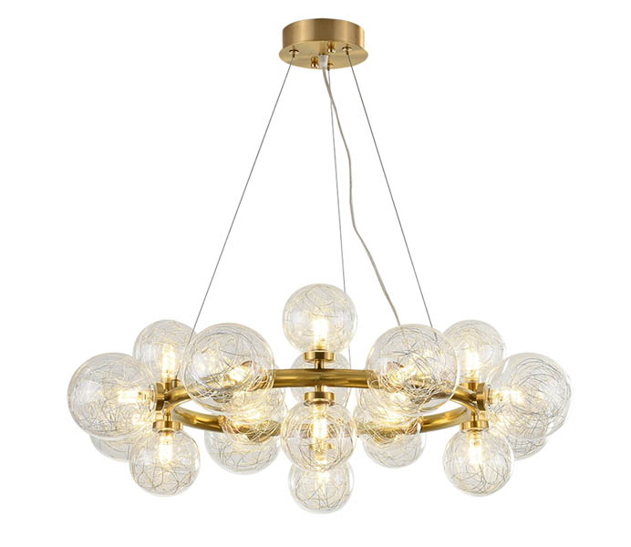 20 Lights Brass G9 Circle Chandeliers with Glass Shade