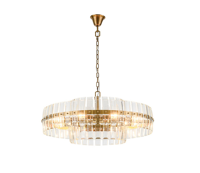 Gold Circle 8 Lights Iron Chandelier with E27