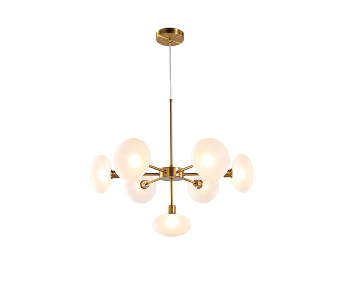 7 Lights Iron G9 Chandeliers with Glass Shade