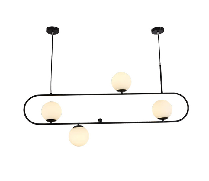 Black 3 Lights E27 Iron Pendant Light with Glass