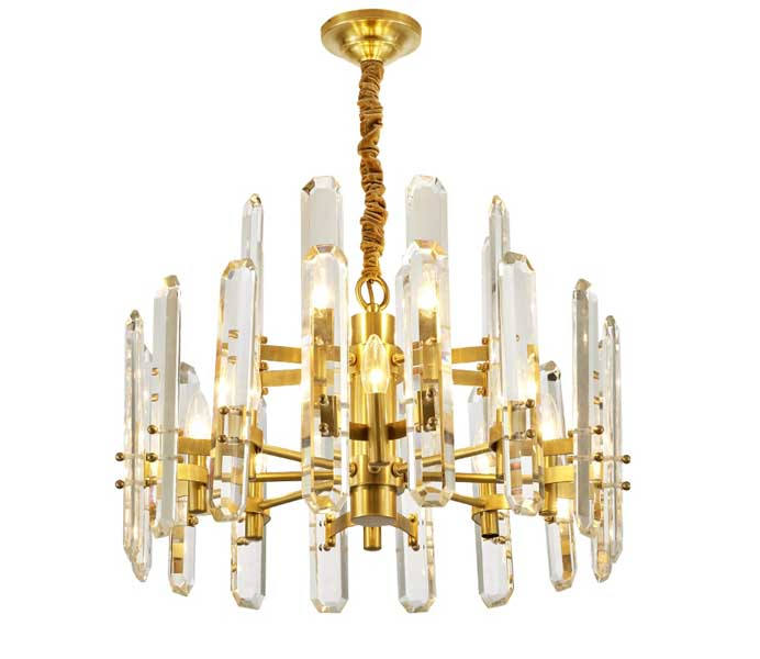 Affordable Luxury Gold Brass E14 Chandelier with Crystal