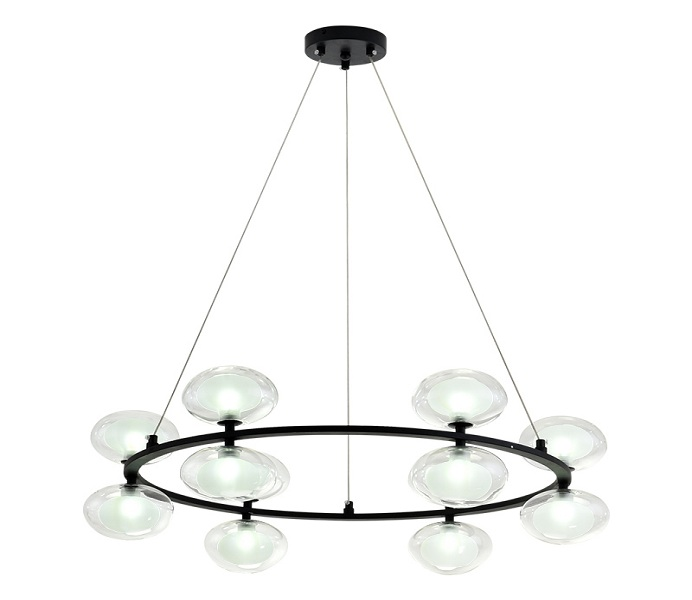 Upward and Downward 8 Lights Iron Black Chandeliers with Glass