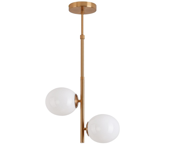 2 Lights Gold White Glass Pendant Light with Iron
