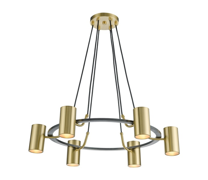 Modern Gold Circle 6 Lights Chandeliers with Brass