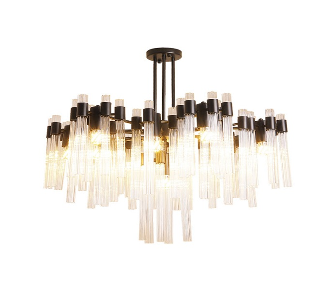 Dia 600 Iron Black Chandelier with Tube Glass