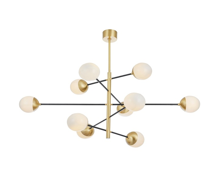 Classic Brass Ball Chandelier with 10 Lights