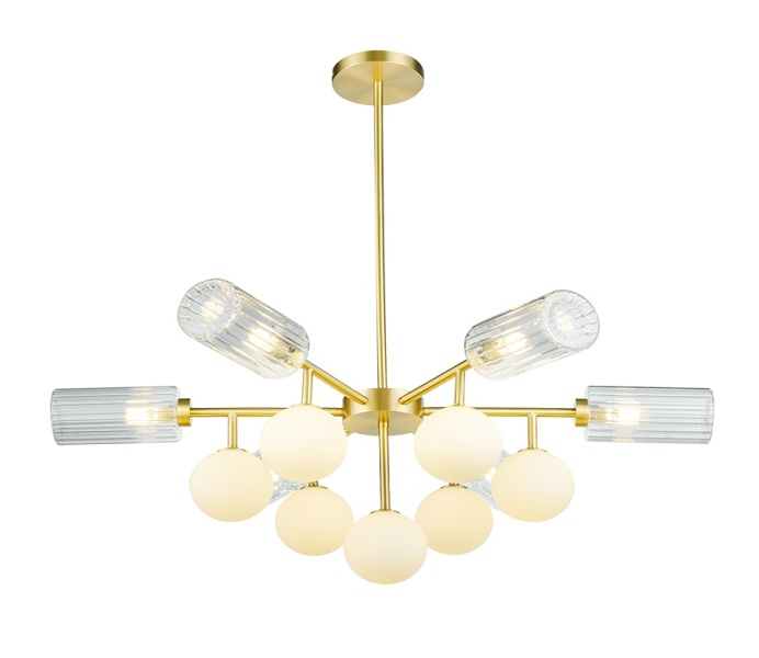 Brass 5 Lights Outward Chandeliers with Glass Ball