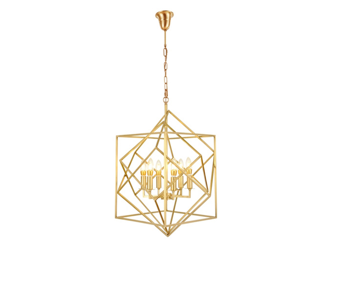 Brass E14 Geometric Gold Chandelier with 6 Lights