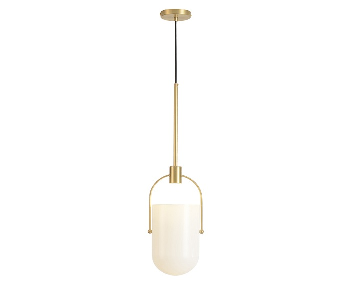 Brass LED Dia 180 Pendant Light with Glass Shade