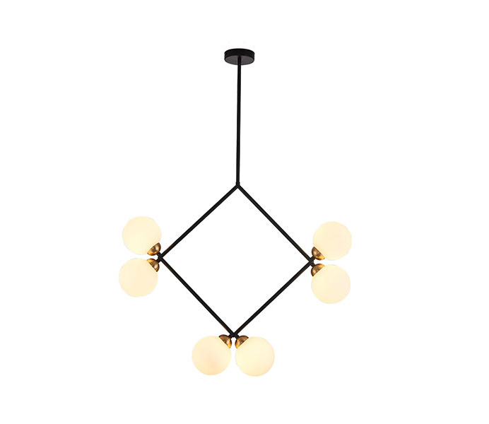 Black 6 Lights Outward Geometric Chandelier with Glass Shade
