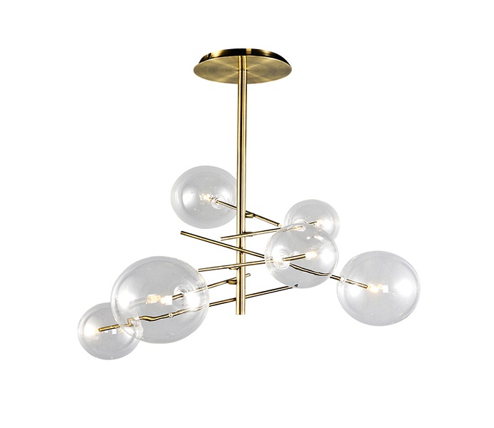 Gold G4 Steel Chandelier with Clear Glass Shade