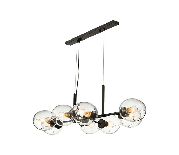 8 Lights Outward Black Iron Chandelier with Clear Glass Shade
