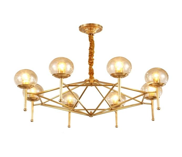8 Light Upward Brass Gold Chandelier with E27