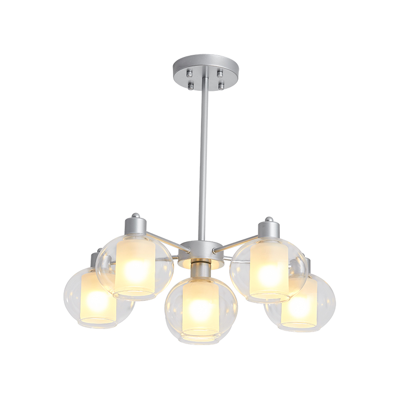White Downward 6 Lights Iron Chandelier with Glass Shade