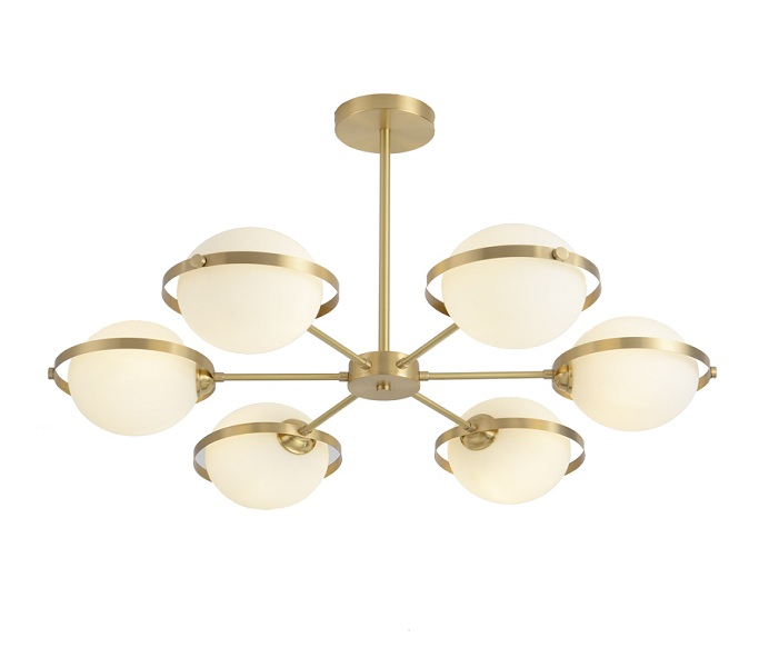 Brass 6 Lights Glass Chandelier with G9