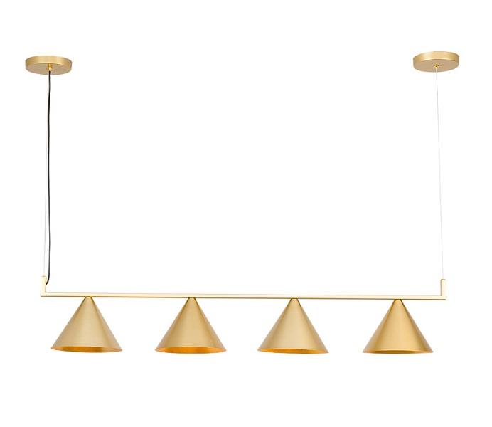 4 Lights Gold Downward Pendant Light with E27