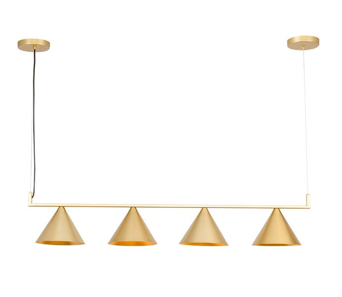 4 Lights Gold Downward Pendant Light with E27