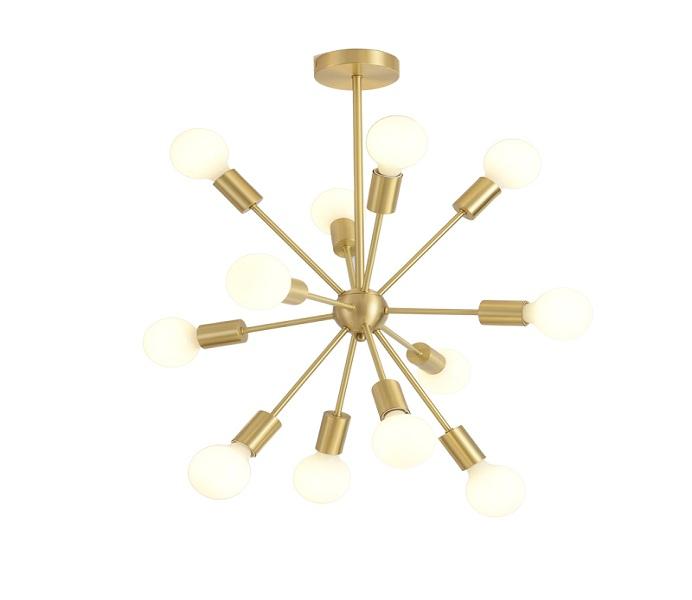 16 Lights Gold Brass Sputnik Chandeliers with E27