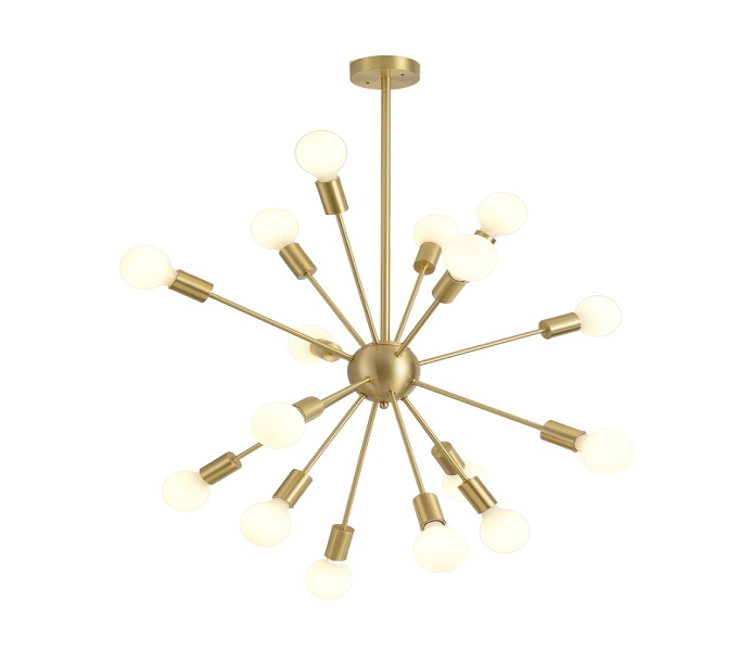 16 Lights Gold Brass Sputnik Chandeliers with E27