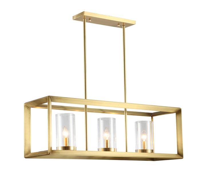 Gold Geometric Brass Pendant Lights with 3 Lights
