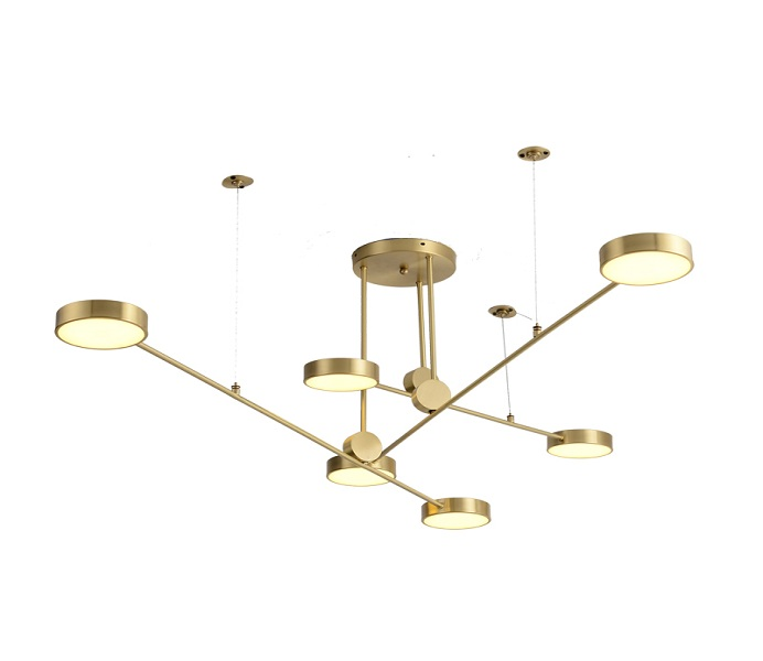 LED Brass Gold Pendant Lights with 6 Lights