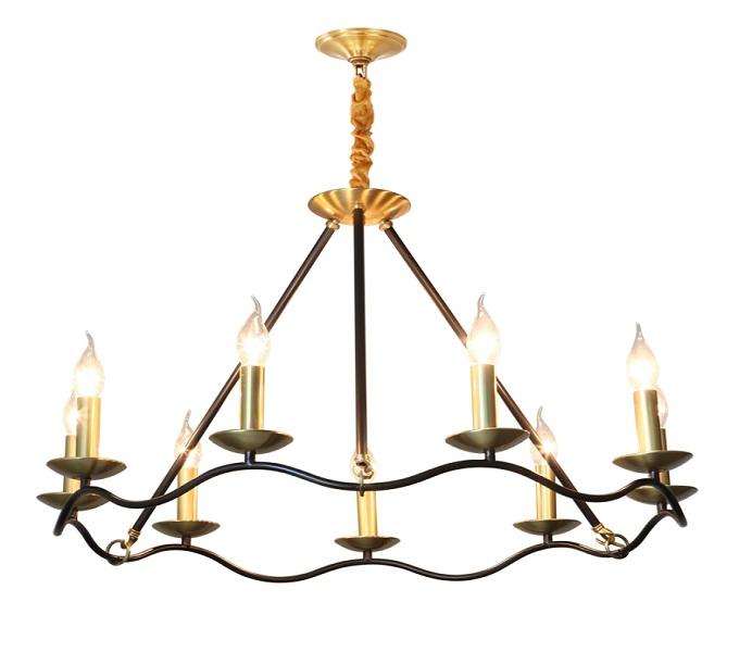 9 Lights Brass Black Chandelier with Upward Candle Lights