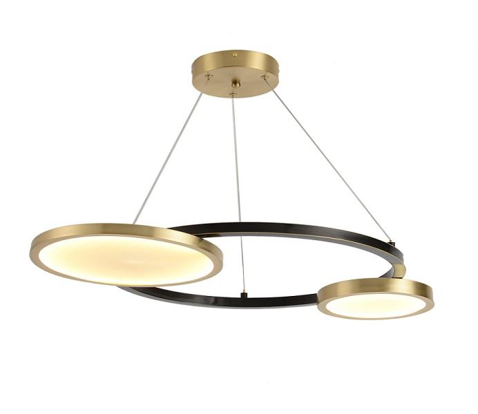 2 Lights LED Black Gold Pendant Lights with Brass