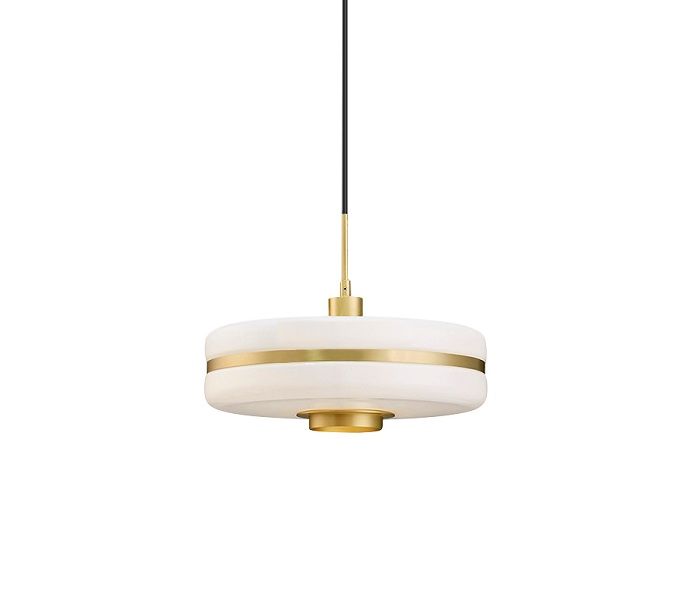 Gold Iron E27 Pendant Light with Glass Shade