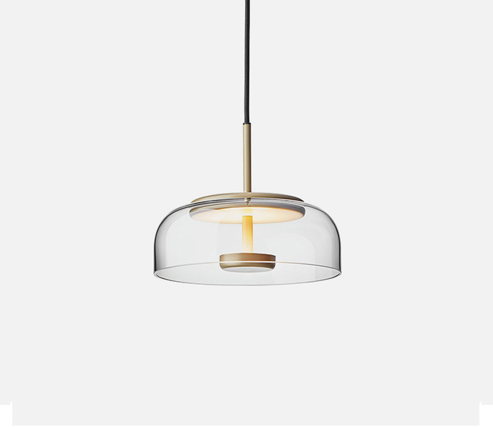 Gold LED Upward Pendant Light with Glass Shade