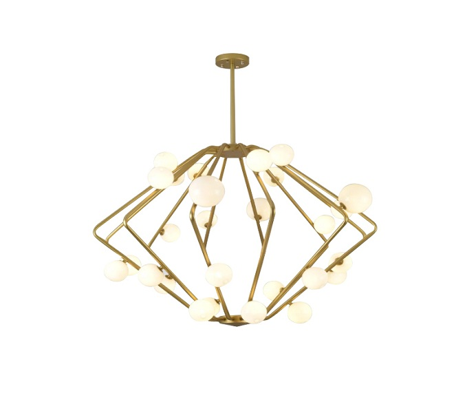 Gold Iron Diamond Chandelier with G4