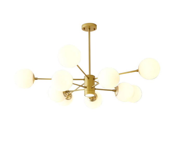 Gold Iron Chandelier with 6 Lights