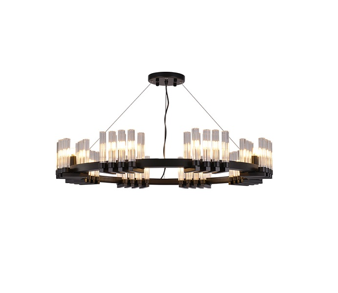 Black Dia600 18 Lights G9 Chandeliers with Glass