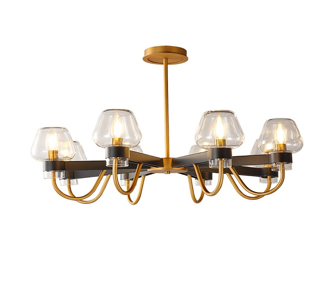 Black and Gold Dia800 8 Lights Chandelier with Glass
